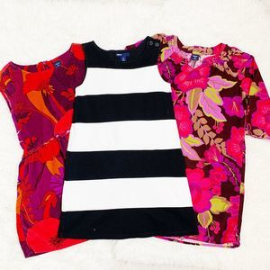 GAP (3) Girls Striped Floral Cotton Dresses Small